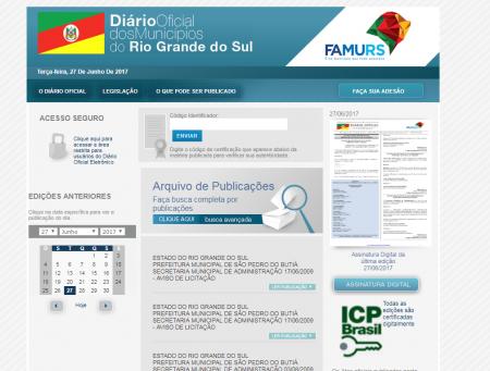 Para acessar o diário oficial com as publicações do Executivo Municipal de Tupanciretã acesse: www.diariomunicipal.com.br/famurs