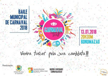 Baile Municipal de Carnaval acontecerá neste sábado
